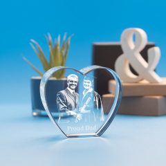 Heart Crystal, 3D Engraved