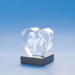 Just Because Heart Crystal, 3D Engraved