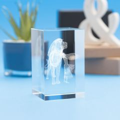 Leo Zodiac Sign Tower Crystal, 3D Engraved